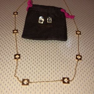 Gold kate spade necklace and earrings